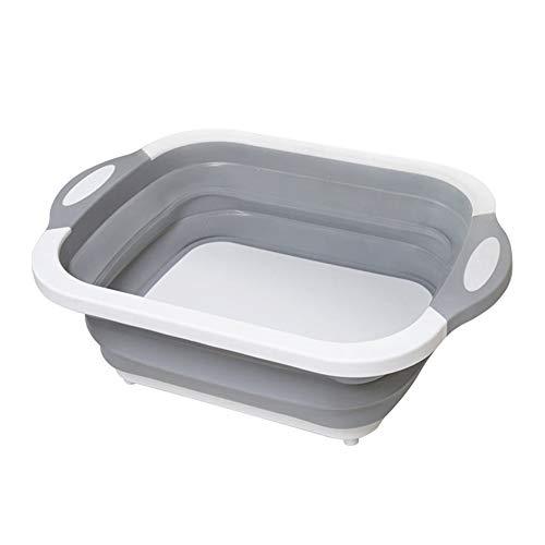 1PC Portátil Tabla de cortar Multifuncional Tazón Tabla de Cortar Dishpan Camping Cocina Cesta de Almacenamiento de Plástico Plegable Fregadero