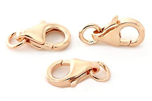 NaturSchatulle Cierre de mosquetón de plata 925 de 18 quilates, oro rosa, 10 unidades, cierre para joyas, 10 mm, cierre de mosquetón, cierre de cadena, manualidades y fabricación de joyas