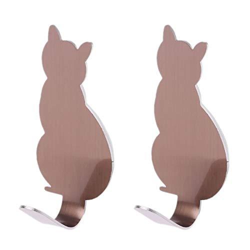 OUMIFA Cola de Colgante de Pared Creativa Cola de Gato con Forma Decorativa de Acero Inoxidable de Acero Inoxidable Puerta de Colgante Abrigo de Colgando Llavero Gancho Gancho Gancho Multifuncional