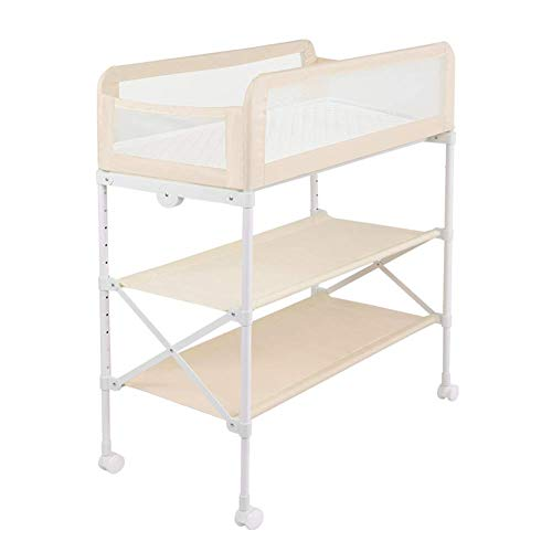 Baby veranderende tafeleenheid op wielen, luierstation opbergbakken en bad, tafelhoogte verstelbaar, hek modus (kleur : PINK)