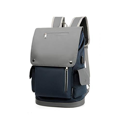 LYNNDRE Mochila para portátil, morral del Recorrido con el Puerto de Carga USB, Viajes portátil Mochila tamaño Laptop de 14 Pulgadas y portátil para Hombres y Mujeres,Azul