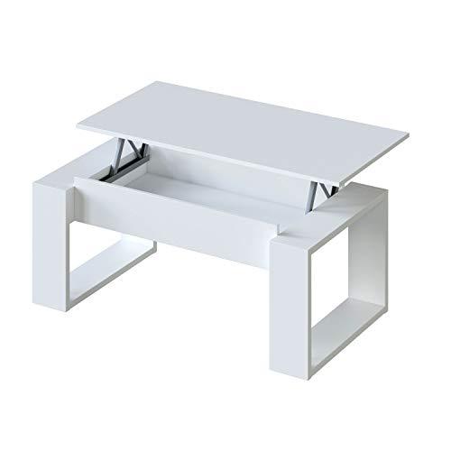 Habitdesign Mesa de Centro Elevable, Mesita de Salon, Comedor, Modelo Nova, Acabado en Blanco Artik, 105 cm (Largo) x 55 cm (Ancho) x 45-54 cm (Alto)