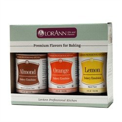 LorAnn Bakery Emulsion 3 pack - Almond, Lemon, Orange, 4 ounce bottles