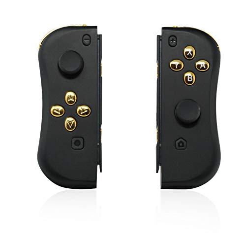 Switch Wireless Controller Joypads CHASDI. Pair of Remote Motion Controllers with Micro USB Charging Cable & Joy-Con Alternative Compatible with Nintendo Switch (Gold Black)