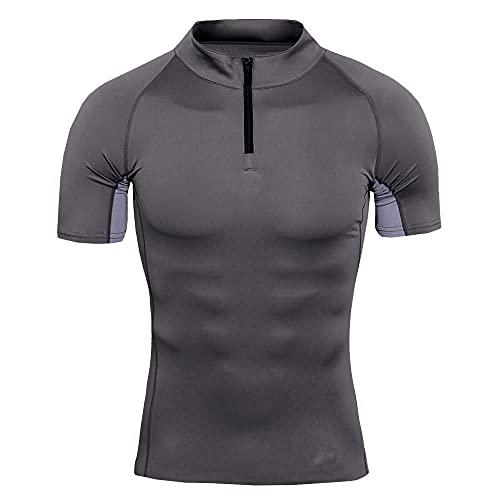 T-Shirt Hombre Transpirable Verano Color Sólido Hombres Shirt Compresión Cuello Cremallera Empalme Manga Corta Hombres Shirt Muscular Estiramiento Hombres Deportiva Shirt C-Grey XL