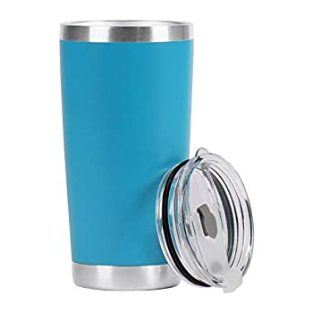 GENMOUS & CO 20oz Double Wall Vacuum Insulated Stainless Steel Tumbler Travel Coffee Mug with Spill Proof Slider Lid Durable Powder Coating Cup Gift for Hot & Cold Drink(Sky Blue,1 Pack)
