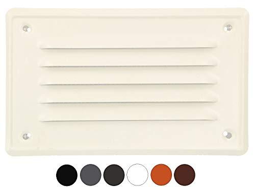KOTARBAU ventilatierooster 165x100 mm afvoerrooster inschroeven gelakt open haard ventilatie wit insectenrooster bestand tegen corrosie