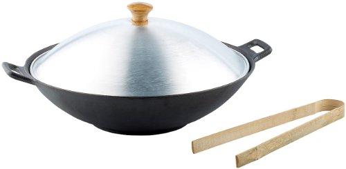 Tornwald-Schmiede Wokpfanne: Gusseisen Wok Set, 37cm (Wok Pfanne Gusseisen)