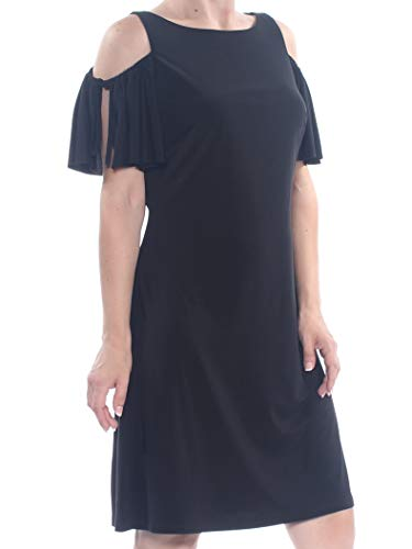 American Living Womens Cold Shoulder Tie Sleeves Party Dress Black 16