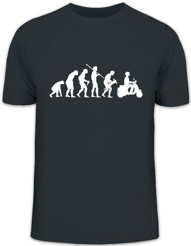Shirtstreet24, EVOLUTION MOTORROLLER, Mofa Funshirt, Größe: XL,darkgrey