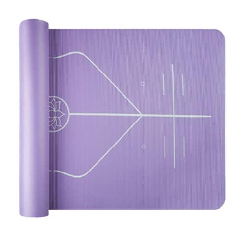 Tappetino Yoga Palestra Fitness Mat Linee di Allineamento Antiscivolo NBR 1 cm Morbido Fascia Elastica e Zaino per Donne,Purple,1.5cm