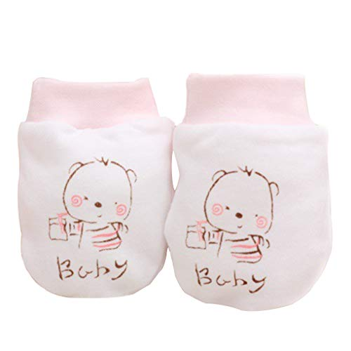 kexinda 1 Paar gekämmte Baumwolle Karikatur-Baby-Jungen-Mädchen-Anti Scratch Fäustlinge Newborn Keine Kratzer Handschuhe