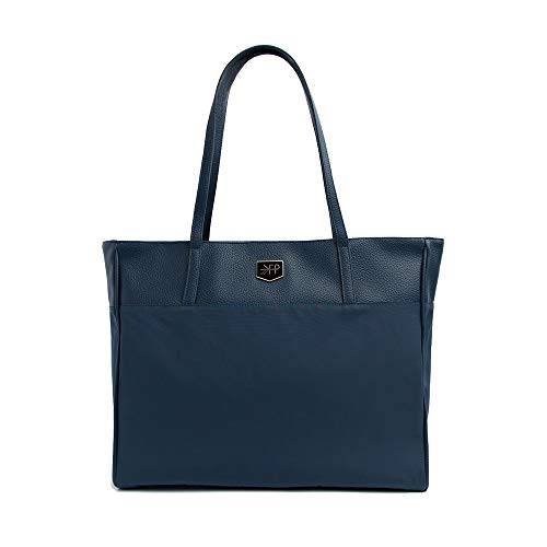 Freshly Picked - Everyday Tote - Durable Nylon with Vegan Leather Accent 6 Pocket Diaper Bag Purse - Navy Blue