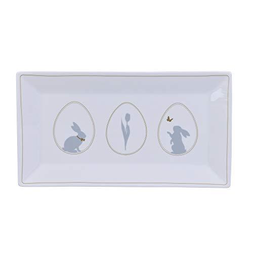 Krasilnikoff - Teller, Kuchenteller, Tablett - Osterhasen und Ostereier - Porzellan - 25,4 x 14 x 2 cm