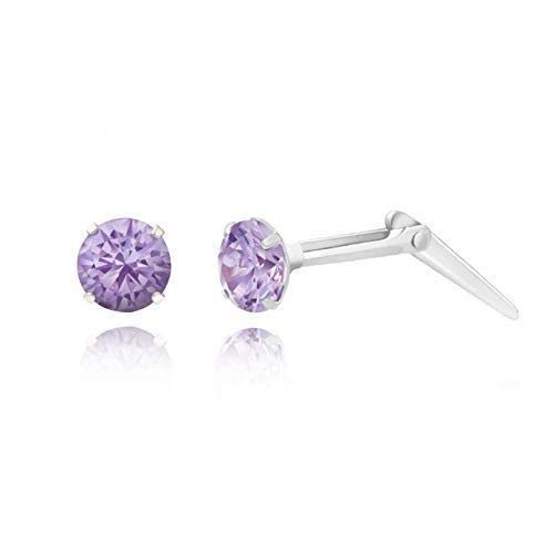 Sterling silver 3mm amethyst cubic zirconia cz Andralok stud earrings/Gift box