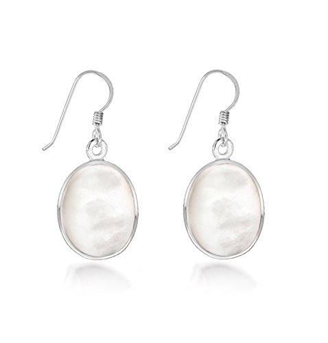 Tuscany Silver Damen Sterling Silber 11mm x 14mm Oval Weiß Perlmutter Drop Ohrringe 8.57.9259