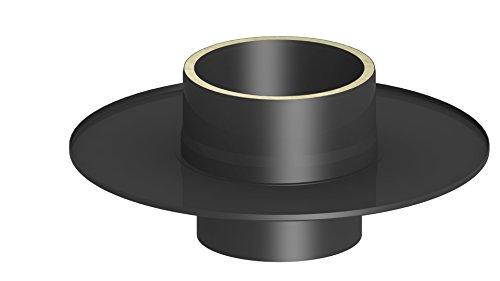 Übergangselement von einem einwandigen auf ein doppelwandiges Ofenrohr (15mm Isolierung) mit Wandfutter und Wandrosette, 150mm Innendurchmesser; schwarz lackiert
