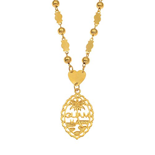 Inveroo Guam Pendant with 6mm Ball Beads Necklaces for Women Girls Gold Color Mariana Guam Jewelry Gifts 60cm