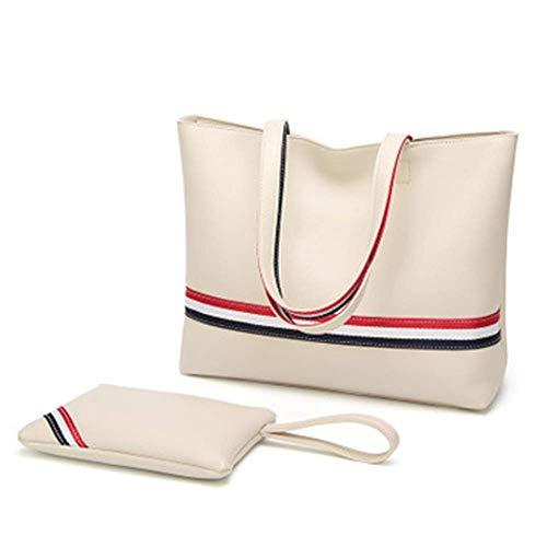 XYAZ Bolso de mano de cinta de color de contraste de gran capacidad para mujer Bolso de mamá simple y moderno Bolso de mujer de mensajero con un solo hombro a la moda,blanco