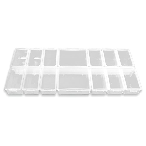 Multi-Sortierbox gross (leer) - 14 Fächer mit Klappdeckeln - transparent