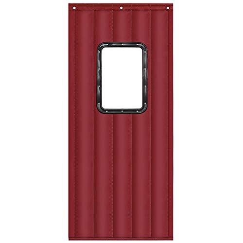 JINGMAI Isolierter Türvorhang, Wasserdicht Schallschutzvorhang Wärmeschutzvorhang, Winter Baumwolle Thermovorhang Zum Schiebetür, Anpassbar (Color : Red, Size : 1.1x2m)