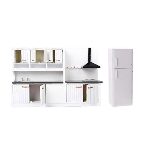 shentaotao Casa de muñecas Cocina Comedor Blanco de Lujo Gabinete de Madera Nevera Muebles 01:12 Blanca