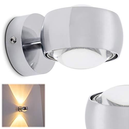 Wandlampe Sapri halbrunde - verchromter Raumfluter aus Metall mit Glas-Linsen - indirektes Licht in Form von zwei Lichtkegeln - LED oder Halogen-Lampen möglich
