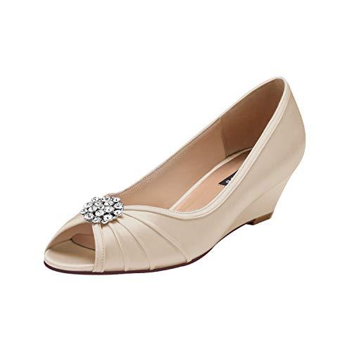 ERIJUNOR E2019A Women Comfortable Low Heel Wedges Peep Toe Wedding Shoes Champagne Size 9.5