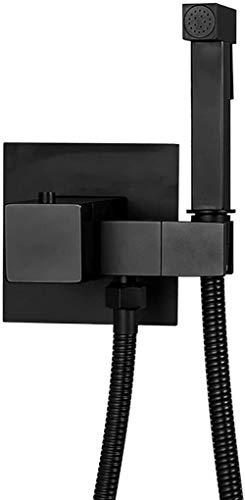 MLFPDXC-Rociador de bidé de mano rociador termostático de latón montado en la pared para inodoro con manguera de ducha de acero inoxidable baño portátil kit de ducha de limpieza de inodoro cromo negro