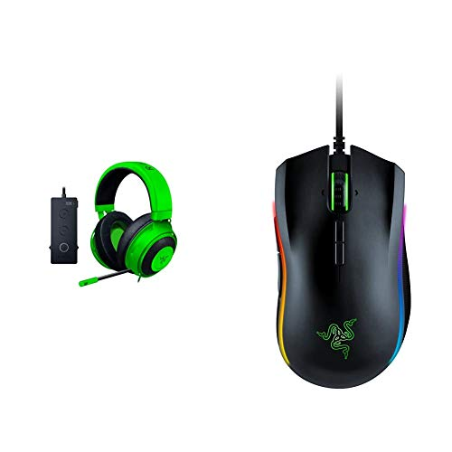Razer Kraken Tournament Edition THX 7.1 Surround Sound Gaming Headset – Green & Mamba Elite Wired Gaming Mouse: 16,000 DPI Optical Sensor - Chroma RGB Lighting - 9 Programmable Buttons