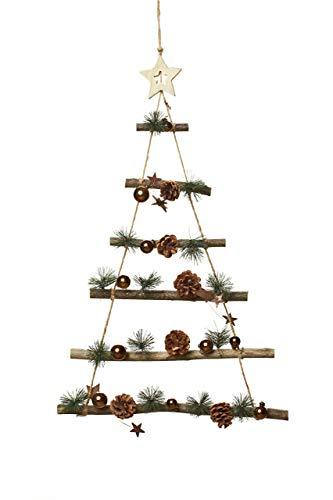 Heitmann Deco Árbol de Navidad para colgar – Decoración de pared de madera – Decoración de Navidad – Árbol de ramas con decoración – cobre natural