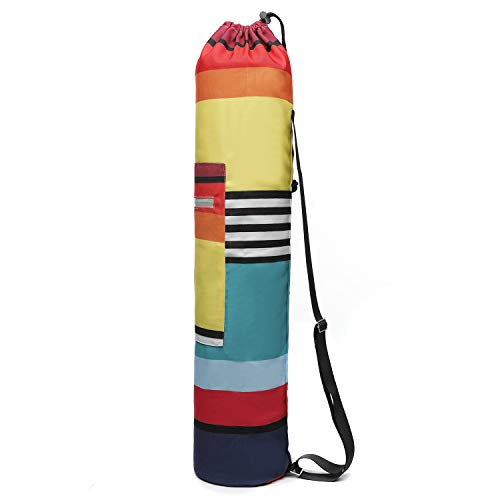 TOPCHANCES Bolsa para esterilla de yoga, bolsillos de almacenamiento funcionales, reflectante, con cremallera completa, portátil