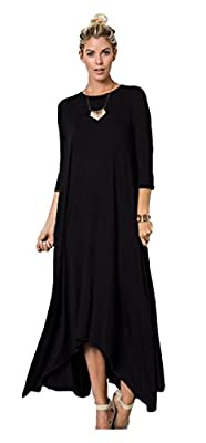 Tabeez Women's Casual Asymmetrical Oversized Handkerchief Hem 3/4 Sleeve Jersey Maxi Dress
