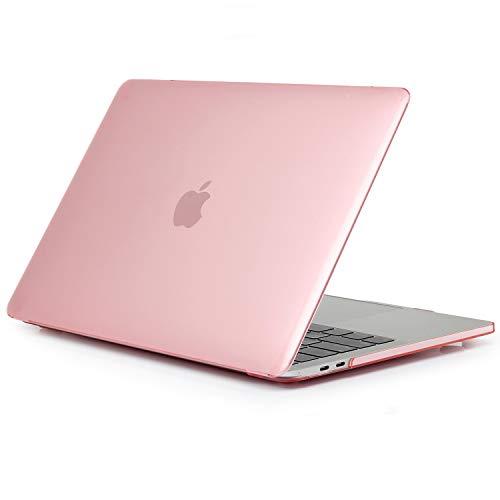 TECOOL Custodia MacBook PRO 13 2016/2017/ 2018/2019, Sottile Plastica Cover Rigida per Apple MacBook PRO 13.3 Pollici con/Senza Touch Bar (Modello:A1706/ A1708/ A1989/ A2159) - Rosa Cristallo