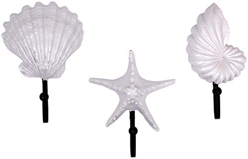 Decorative Pearly White Seashells Resin Wall Coat Hooks (Set of 3)