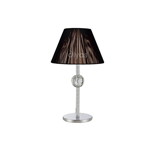 Inspired Diyas - Elena - Lámpara de mesa (TAPA VENDIDA POR SEPARADO) 1 Cromo pulido claro, Cristal