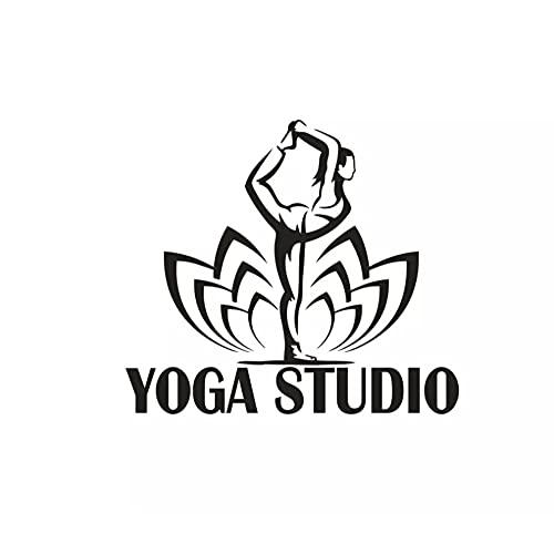 Yoga Studio pared decoración Lotus patrón Yoga Pilates vinilo pared calcomanía Yoga mujeres postura pared pegatina vinilo pared arte 57x50cm