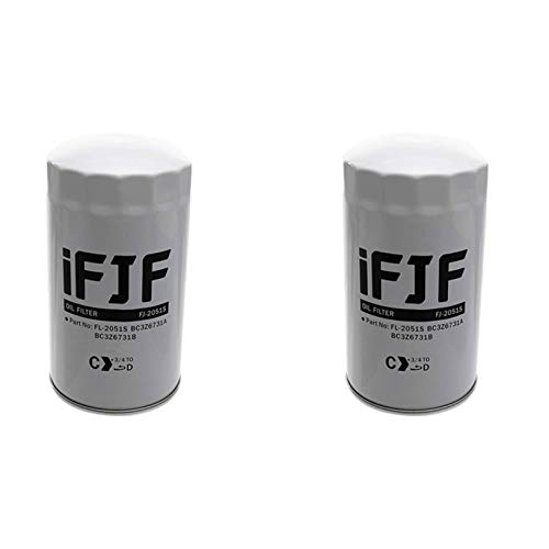 iFJF FL2051S Oil Filter Replacement for F250 F350 F450 F550 6.7L Powerstroke Turbo Diesel Engine 2011-2018 Replace FL2051S BC3Z-6731-B BC3Z6731B (Set of 2)
