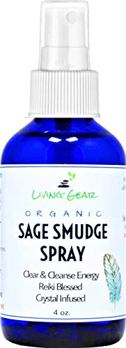 Living Gear White Sage Smudge Spray - Liquid Smudging Spray for Clearing and Protection - Cleanse Negative Energy from Any Space - Crystal Infused - Now with Fine Mist Pump Sprayers