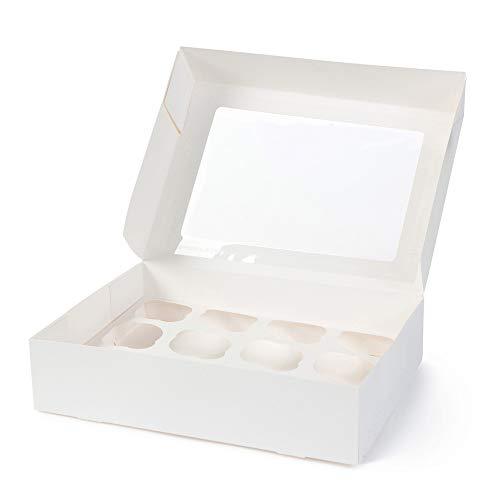 BIOZOYG Cajas para 12 Magdalenas, Cupcake Muffin con Inserto y Ventana de visión Grande I 25 Pieza de Cajas para pastelería Cajas de Regalo Bio Caja Blanca para Llevar Caja de cartón Biodegradable