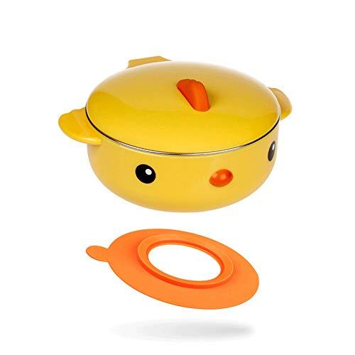 Cxp Boutiques Bebé del vajilla del Acero Inoxidable de Dibujos Animados Lindo de Platos térmicos Kid Aislamiento Tazón Vajilla Alimentación Infantil (Color : Yellow, tamaño : B)