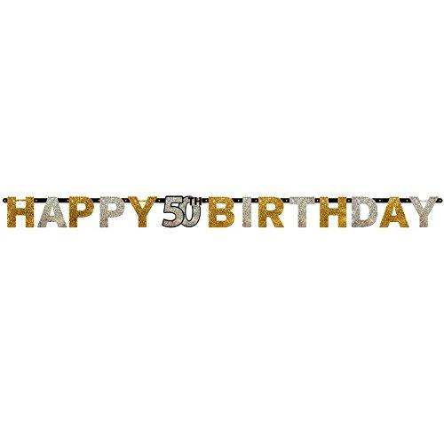 Amscan - Bannière anniversaire (Taille unique) (Or/Argent)