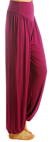 AvaCostume Womens Modal Cotton Soft Yoga Sports Dance Harem Pants, S, Fuchsia