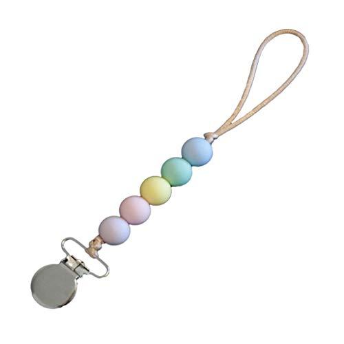 Tvvudwxx Clips de chupete coloridos para niños y niñas, soporte de cadena chupete clips de silicona para dentición