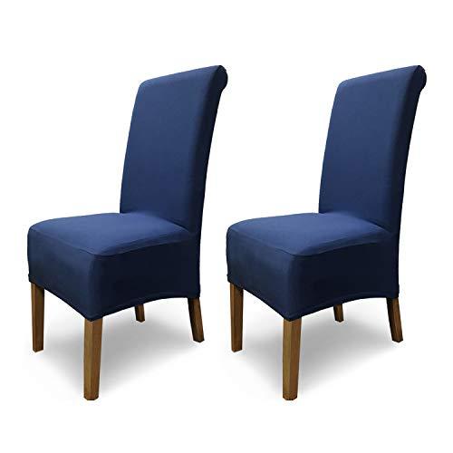 SCHEFFLER-Home Stretch Stuhlhusse Emma | 2er Set elastische Stuhlabdeckungen aus Baumwolle | Stuhlhussen Schwingstühle | Spannbezug mit Gummiband | Elegante Stuhlbezüge