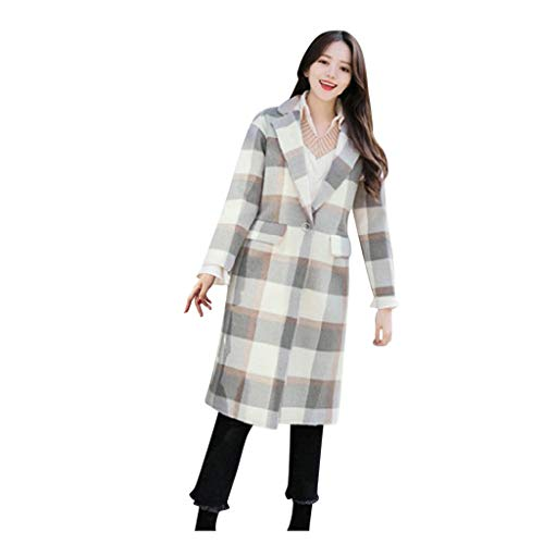 SONIGER ʕ•ᴥ•ʔ Womens Casual Plaid Print Wool Trench Jacket Double-Breasted Loose Lapel Pea Coat Outwear Korean Style Gray