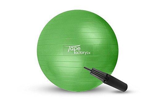 Tapefactory24 Gymnastikball inkl. Pumpe (Gewählte Variante: Grün, 55cm) - Hochwertiger Sitz- und Fitnessball von 55 cm bis 85 cm Durchmesser Größen erhältlich