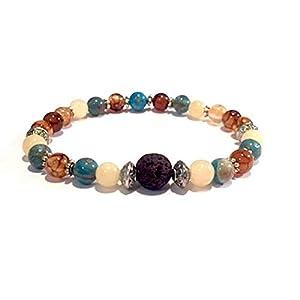 Lava Rock, Dragon Vein Agate, Crazy Lace Agate, Yellow Jade Healing Gemstone Bracelet