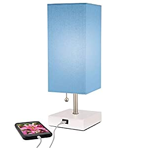 Modern Wood Table Lamp, USB Port w New Improved 2 amp Charger for Quick Phone Charging, Pull Chain, Linen Shade, Bedroom Nightstand, End, Desk, Office & Living Room Tables