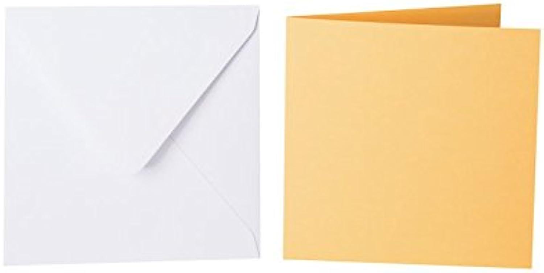 100 quadratische Briefumschläge 140 x 140 mm Weiß mit Dreieckslasche, 100g  100 Faltkarten 130 x 130 mm, 240g, Farbe  07 Gelb-Orange B015PQWVU0 | Vorzugspreis